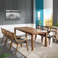 리머스 고무나무 원목 6인 식탁+의자 세트