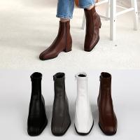 [애슬릿]발 편한 스퀘어 여성 앵클 부츠 3.5cm