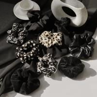 블랙 곱창&집게핀 모음 골덴 밍크 패턴 헤어밴드