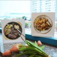 il021-스탠드액자2P_맛있는음식들6(스테이크,치킨)