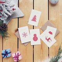 MERRY RED CARD 5종+크라프트봉투 set  (크리스마스카드)