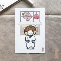 도로보우네코 타코 고양이 일러스트 엽서