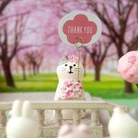 데꼴 2019 벚꽃 고양이 메모꽂이 피규어 strawberry edition