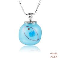 [글라스파크]퓨징 사각 유리 목걸이(물고기 블루, 핑크)