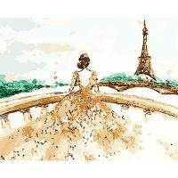 DIY 명화그리기키트 - 에펠탑의 신부 40x50cm (물감2배, 컬러캔버스, 명화, 인물화, 에펠탑, 신부, 도시그림)
