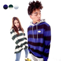 Stripe Hoodie Rugby Shirt (3color)(unisex)