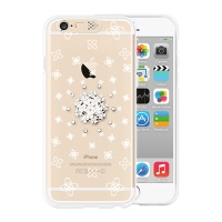 [SG DESIGN] iPhone6/6S SG Lighting Clear Hand-made Case - Clear white Blossoms(Swarovski)