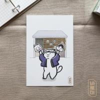도로보우네코 가면 가게 고양이 일러스트 엽서