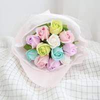 12송이 비누장미꽃다발-파스텔