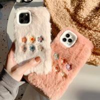 아이폰11 프로 XR XS 8 7플러스 플라워자수 털 케이스