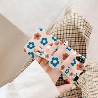 아이폰X XS 플라워 패턴 스트랩 실리콘 핸드폰 케이스