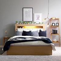퍼피노 LED 엠보 수납 서랍형 퀸 침대+매트세트 sy596