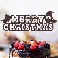 페이퍼 레터링 메리크리스마스 토퍼 - 산타