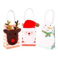 산타와 친구들 쁘띠 스트라이프 쇼핑백 3set