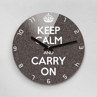 Reflex KEEP CALM AND CARRY ON 무소음벽시계(대) KYE280-GY