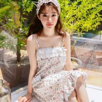 [쿠비카]플라워 프린팅 끈 랩 가운 여성잠옷 W325