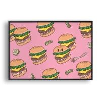 뉸뉴 레스토랑 햄버거 패턴 (Pink) / 일러스트 액자