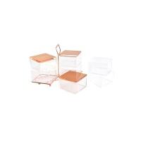 핑크박스 화장품 정리함 분리형 주얼리함 로즈골드