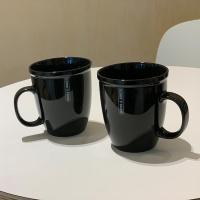 모던 시크 홈카페 도자기 트렌디 블랙 머그컵 2p