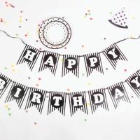 페이퍼 생일 러블리 리본가랜드 (블랙라인)