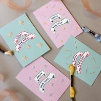 러블리 해피뉴이어 신년 프랑스자수카드 2장 DIY KIT