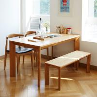 고운F 오크 4인 와이드 식탁세트 / 벤치, 의자