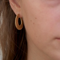 knitting hoop earring