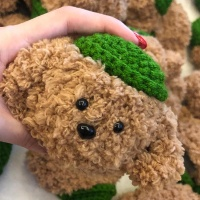 에어팟케이스 1/2 강아지 뜨개질 털 273 초록갈색푸들