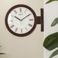 오리엔트 무소음 OT843 브라운 인테리어 양면벽시계