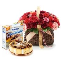 필라델피아 치즈케익 터틀(794g)+비누꽃 와인로즈바구니