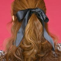 블랙 롱 리본 머리끈