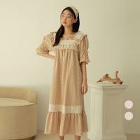 [쿠비카]미니 땡땡이 숄더 셔링 원피스 여성잠옷 W742