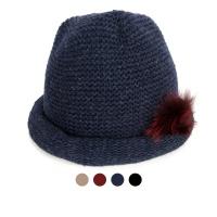 [디꾸보]울 털방울 패치 말림 비니 모자 AC497