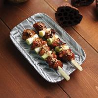 일본식기 헤링본 직사각접시
