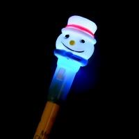 LED점등 크리스마스 눈사람볼펜