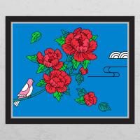 ia443-풍수모란꽃과새(컬러배경)_창문그림액자