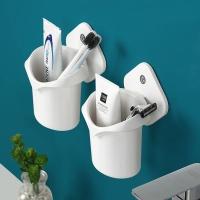 화이트롬버스 접착식 심플 칫솔치약통 욕실소품