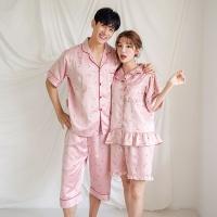 [쿠비카]딸기 프린팅 프릴포켓 투피스 커플잠옷 WM249