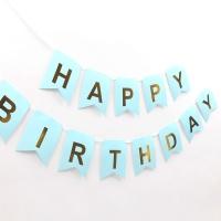 페이퍼 생일 리본가랜드 (블루골드)