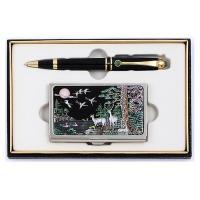 청옥 볼펜(골드)+채색 십장생 자개명함 CH1386160