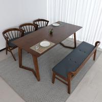 우데 고무나무 원목 6인 식탁+벤치의자 세트