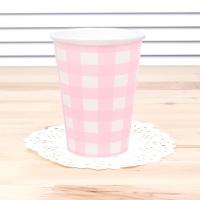 체크 종이컵-핑크(6개입)