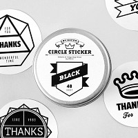 Circle Sticker Tin-08 Black (스티커팩)