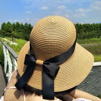 엘리아 여성 리본 둥근 밀짚모자 나들이 모자