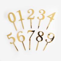 [인디고샵] 골드 숫자 아크릴 데코픽 (1개)