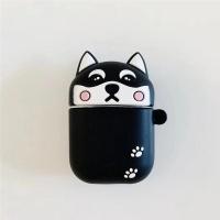 에어팟 시바견 강아지 실리콘 케이스 1/2세대_블랙369