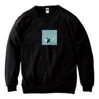 꽃잎냥 크루넥맨투맨 - 블랙