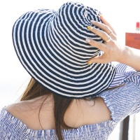 플로피 햇 스트라이프 모자 네이비
