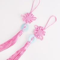 [인디고샵] 옥 장식 분홍 전통 매듭 노리개 (2개)