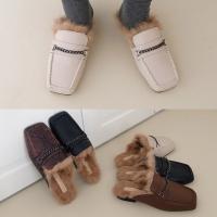 [애슬릿]발 편한 스퀘어 토끼털 여성 퍼 블로퍼 2.5cm
